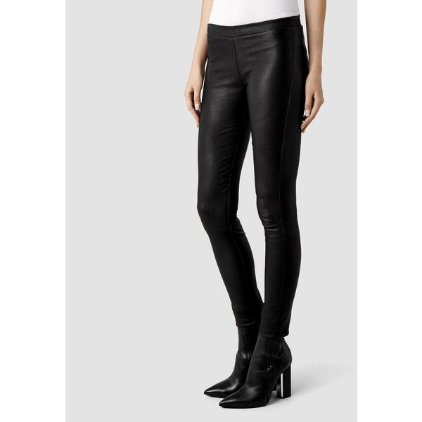 AllSaints Elm Leather Leggings ($450) ❤ liked on Polyvore featuring pants, leggings, black, leather leggings, leather trousers, low rise pants, leather legging pants and slim fit pants