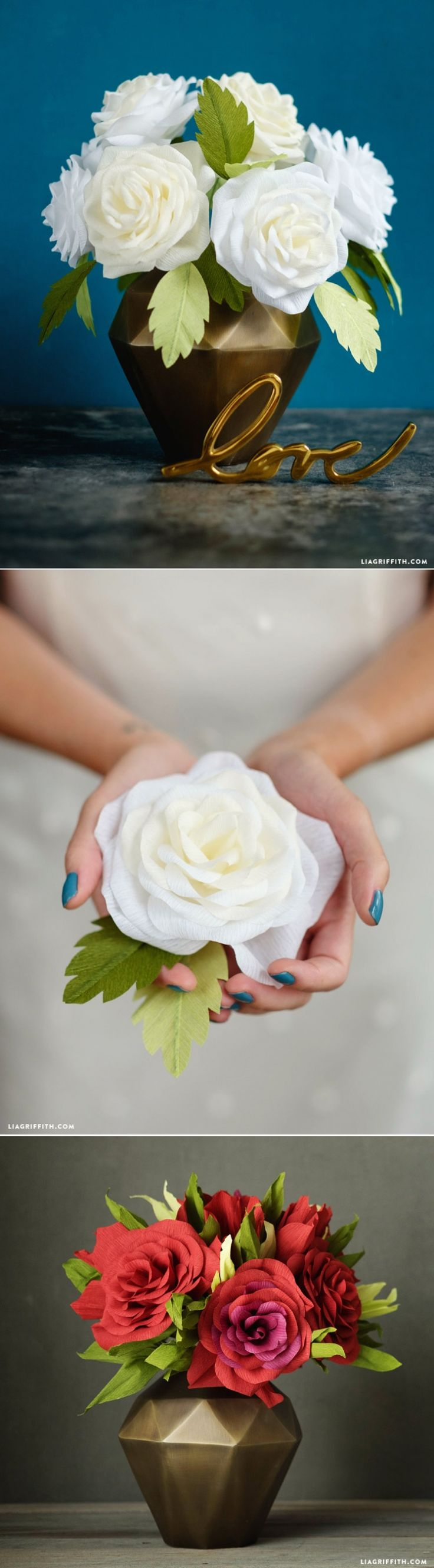 Great tutorial to make these beautiful paper flowers www.LiaGriffith.com: