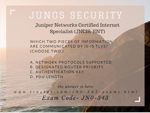 #Juniper Networks Certified Internet Specialist (JNCIS-ENT) Exam #JN0_343