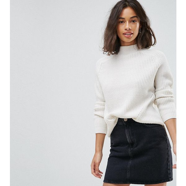 ASOS PETITE Ultimate Chunky Jumper With Slouchy High Neck (£30) ❤ liked on Polyvore featuring tops, sweaters, cream, petite, asos sweater, high-neck tops, petite sweaters, cream chunky knit sweater and short sweater