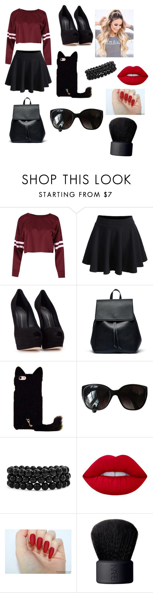 """""""My First Polyvore Outfit"""" by cucito-ivanova ❤ liked on Polyvore featuring WithChic, Giuseppe Zanotti, Sole Society, Chanel, Bling Jewelry, Lime Crime and NARS Cosmetics"""