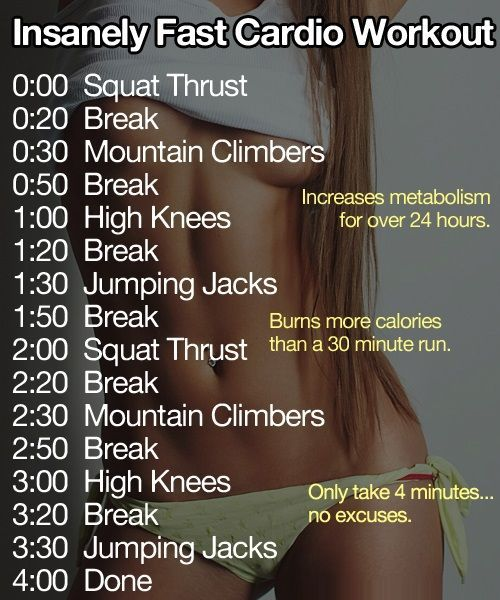 Intensely fast cardio workout! burns more calories then a 30 minute run and only takes 4 minutes!...while I assume it burns a lot of calories, I find it hard to believe it burns more than a 30 min run...