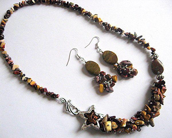 Jasp Mookaite set bijuterii colier si cercei - lucrate manual in atelier - idei cadouri femei produse manual - piatra semipretioasa