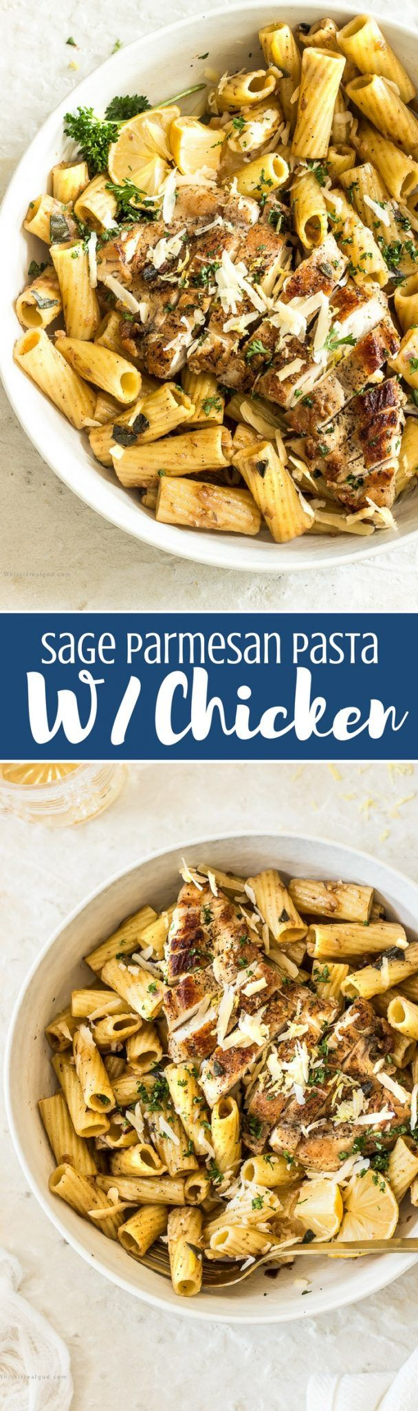 Pasta with fried, warm aromatic sage, Parmesan sauce, chicken and lemon zest is a DELICIOUS, quick and easy meal. Hectic day? This sage pasta is perfect for those busy weeknights or last-minute fridge clean.