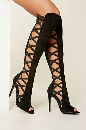 A pair of knee-high faux suede boots with strappy side cutouts, an open toe, a back zipper, and a stiletto heel. This is an independent brand and not a Forever 21 branded item.