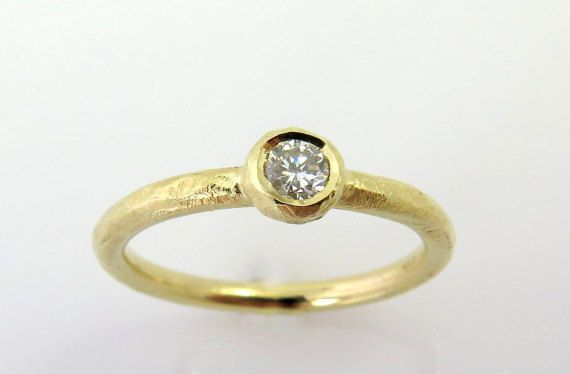 Engagement Diamond Ring, Solitaire diamond ring, 14k gold ring, Hammered gold ring, Rough engagement ring, Unique engagement ring, Raw ring