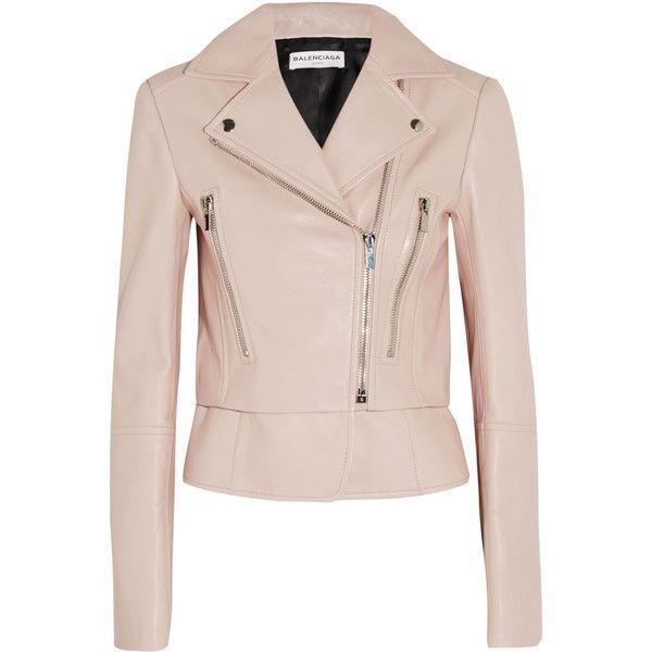 Balenciaga Leather biker jacket ($2,750) ❤ liked on Polyvore featuring outerwear, jackets, balenciaga, leather jacket, coats & jackets, pink, biker jacket, pink peplum jacket, motorcycle jacket and leather moto jacket