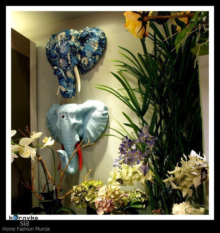 Cabezas elefantes decorativas giwa sia #decoracion, #taxidermia #elefante