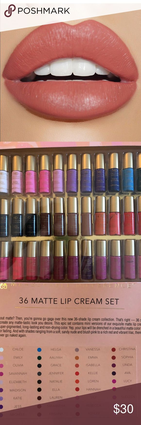 New 36 Matte Soft Cream lipsticks Collection! Listing is for a lip vault of matte lip colors. Soft cream formula. Set includes  a wide variety of 36 liquid lipstick colors. There is a shade for everyone in this collection. Also good for holiday gifts! Description and color names in pics. 2.9ml tubes. Price firm  M. Difference Makeup Lipstick