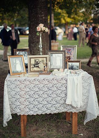 Something like this could be a pretty way to highlight our years together. Have two tables and fill them with pictures of important moments: the kids' births, anniversaries, and such.