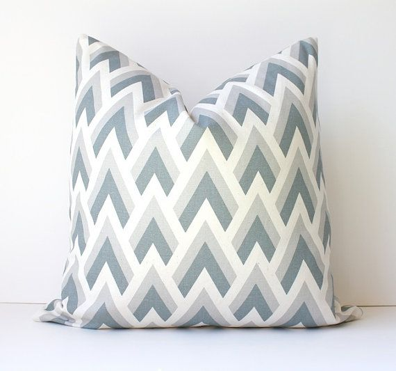 Geometric Grey decorative Pillow Cover 18 Accent Throw Cushion natural mountains peaks modern triangles neutral gray smoke fog dove cream - $40
