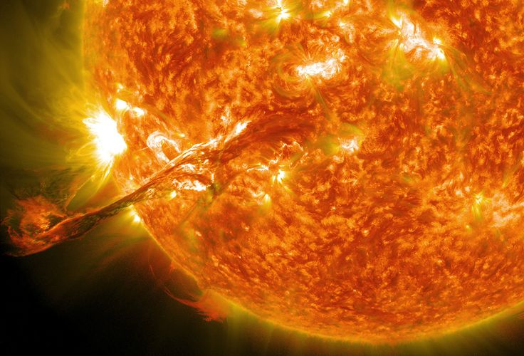 """""""On August 31, 2012, a long filament of solar material that had been hovering in the sun's atmosphere, the corona, erupted out into space at 4:36 p.m. EDT. The coronal mass ejection, or CME, traveled at over 900 miles per second. The CME did not travel directly toward Earth, but did connect with Earth's magnetic environment, or magnetosphere, causing aurora to appear on the night of Monday, September 3. (NASA/GSFC/SDO)"""""""