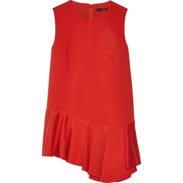 Tibi Stretch-faille peplum tunic ($500) ❤ liked on Polyvore featuring tops, tunics, red, stretch tunic, tibi tunic, woven top, stretchy tops and ruffle tunic