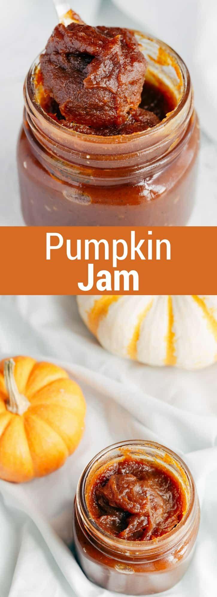 Delicious Pumpkin Jam that tastes like pumpkin pie. It's fantastic on bagels or toast--full step-by-step recipe on bakedbyanintrovert.com #pumpkin #jam