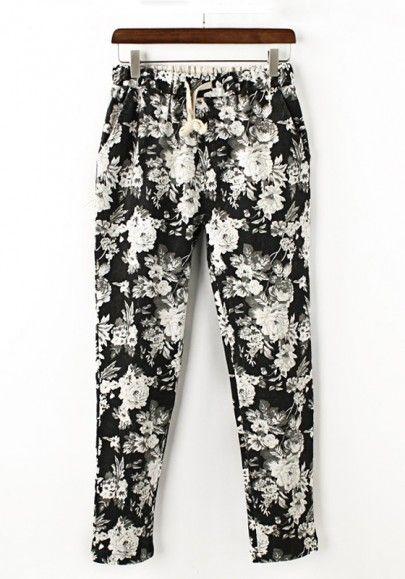 Black Flowers Print Mid Waist Loose Spandex Pants