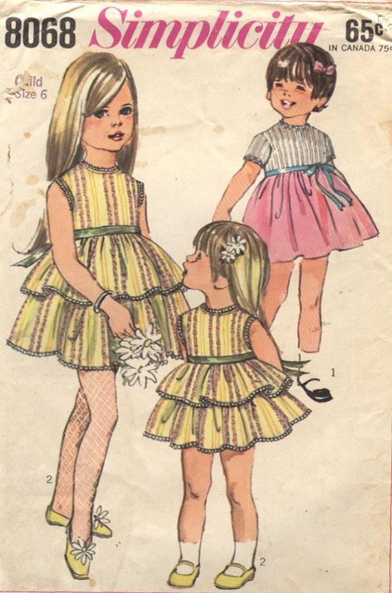 Vintage 60s Simplicity Sewing Pattern 8068 Girls Size 6 Dress. $5.00, via Etsy.