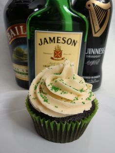 Chocolate Guinness Cupcake with a Whiskey Ganache and Bailey's Irish Cream Frosting