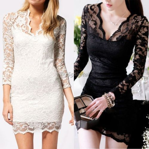 #Womens Lace Floral Long Sleeve V neck #Bodycon Cocktail Evening #Dress  Free shipping  Price £12.99