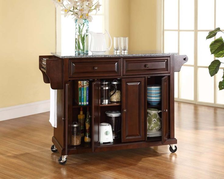 Solid Granite Top Kitchen Cart/Island In Vintage Mahogany Finish   Kitchen  Carts And Islands