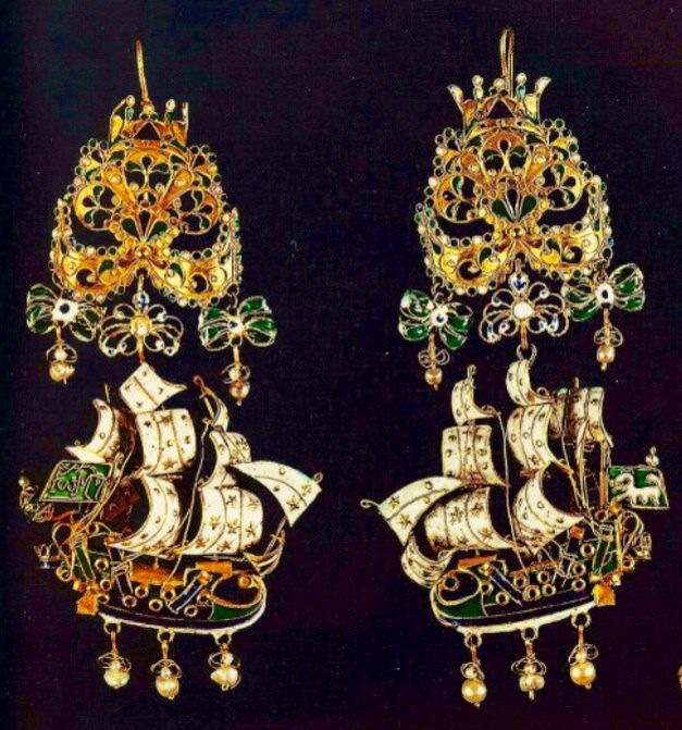 Gold earrings from the Greek island of Sifnos, 17th-18th century. Sailing ships with elaborate colorful enamels and pearls, reflecting European Rococo. Further decorated with bows with crowns on top. Athens, Benaki Museum <3