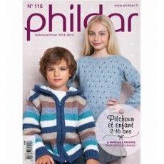 #Breiboek No.116 voor #jongens en #meiden van 2 tot 16 jaar  van #Phildar herfst/winter 2014-2015.  In dit #breimagazine vindt u 31 kinder #breimodellen zoals een #trui in #patentsteek, een #jongens #trui met #sjaalkraag, lieve #truien en #poncho's!