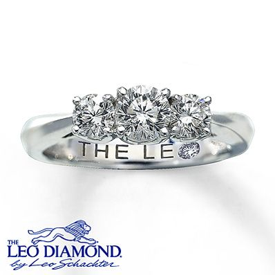 This one-carat total diamond weight ring is the perfect symbol of your lifetime together. Three round Leo Diamonds are secured by platinum prongs in a stunning 14K white gold band. This fine jewelry ring features diamonds that have been independently certified, and the center diamond has been laser-inscribed with a unique Gemscribe® serial number.