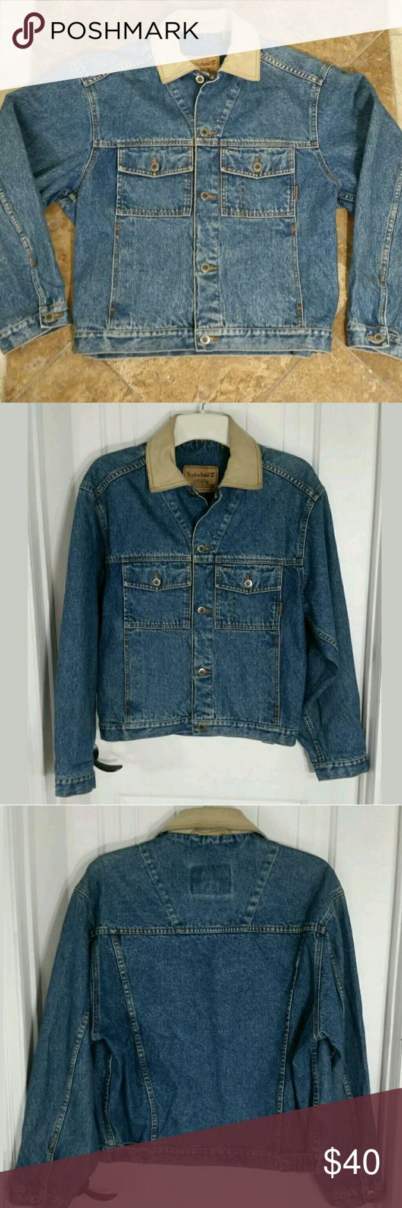 """Timberland Mens Blue Denim Jean Jacket Timberland Blue Jean Leather Jacket Mens Vintage Classic Denim Weathergear Trucker Biker Outdoorsman Button Front with Pockets. Excellent preowned condition.  Type: Jacket Style: Denim Trucker Biker Brand: Timberland Size: XS Material: Cotton Color: Medium Blue Wash Measurements: Sleeve - 24"""" / Chest - 46"""" / Length - 26"""" Condition: Great preowned condition - No holes, no stains, no piling.  Country of Manufacturer: Malaysia Stock Number: Closet…"""