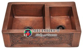 911 Copper Kitchen Sink - eclectic - kitchen sinks - other metro - by MR Direct Sinks and Faucets