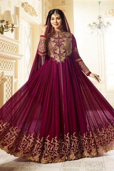 #Islamic #Wedding #Dresses - Ayesha takia purple Georgette Anarkali churidar Suit With Dupatta - DMV15381