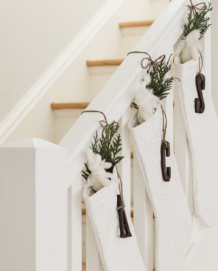 how to hang christmas stockings on stairs - Google Search