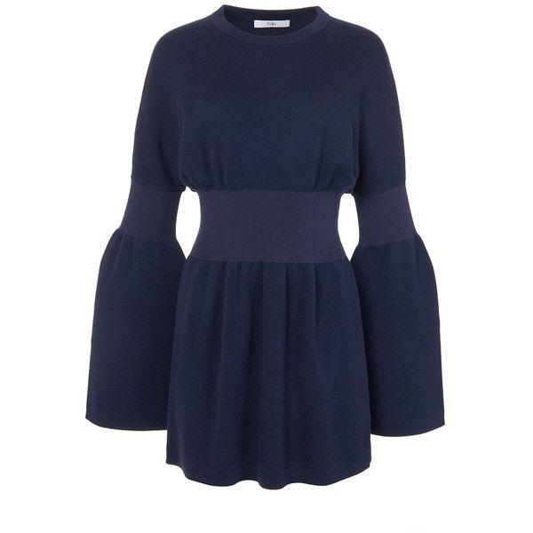 Tibi Navy Merino Wool Sweater Mini Dress (€505) ❤ liked on Polyvore featuring dresses, navy, blue color dress, navy short dress, merino dress, tibi dresses and short sleeve dress