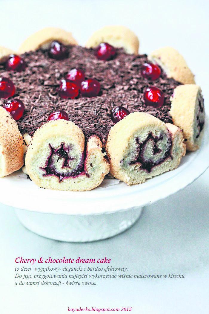 Cherry & Chocolate Dream Cake  Rewelacyjny deser – ciasto marzenie, które łączy w sobie roladę biszkoptową, domowy budyń waniliowy, delikatną jak chmurka masę śmietanową z dodatkiem advocaatu, wiśnie i czekoladę.  przepis: http://www.panorama24.co.uk/cherry-chocolate-dream-cake/