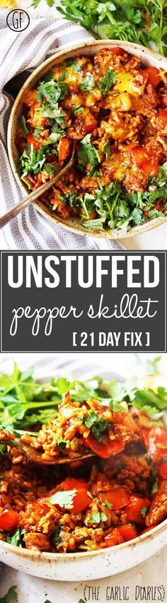 Unstuffed Pepper Skillet [21 Day Fix] - You won't believe you are eating healthy when you take a bite of this amazing dish! Easy, quick, packed with mouth watering flavor, and gluten free! TheGarlicDiaries.com