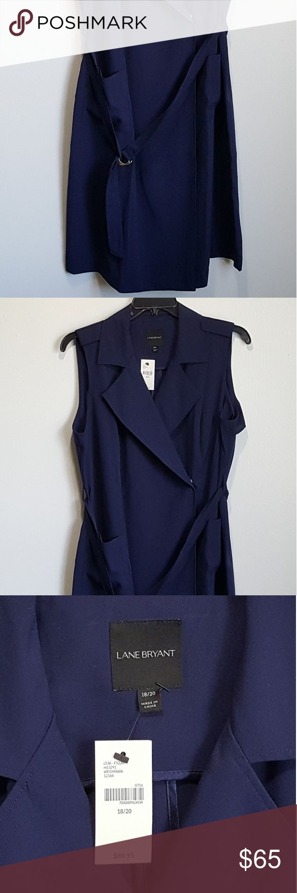 Lane Bryant Plus Size Sleeveless Trench Coat Woman's Lane Bryant Plus Size Sleeveless Trench Coat. New With Tags. Original Price: $89.95.  Color: Navy Blue  Size: 18/20  Condition: New With Tags  MAKE YOUR BEST OFFER!!! Lane Bryant Jackets & Coats Trench Coats