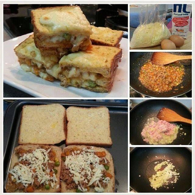 """""""Bread Lasagna / Lasagna Roti  Yum yum! Bahan2: •1/2 bawang besar •1/2 Tube daging cincang • 1 genggam mixed vegie • sos cili n tomato • salt n pepper • roti • telur • susu • mozarella cheese  Cara2: 1. Masak inti dulu. Tumis bawang, masukkan daging biar smpai empuk. 2. Masukkan sos cili n tomato,salt n pepper and mixed vegie. masak smpai kering sikit. Rasa masin manis inti tu. 3. Siapkan bahan roti. Pukul telur n susu.  4. celupkan roti dlm telur n susu tu. Then letak inti yg dh masak then…"""
