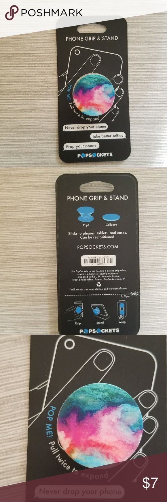 Popsocket for phone Just purchased from Best Buy last week. In perfect condition and still in packaging! Serves as a grip and a stand. popsocket Other