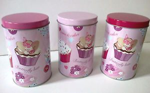 Set 3 pink cup cake coffee sugar tea kitchen storage jars canisters tins cupcake ebay - Pink tea and coffee canisters ...