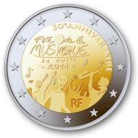 "Frankrijk bijzondere 2 Euromunten - Frankrijk 2 Euro 2011 ""Muziekfeest"""