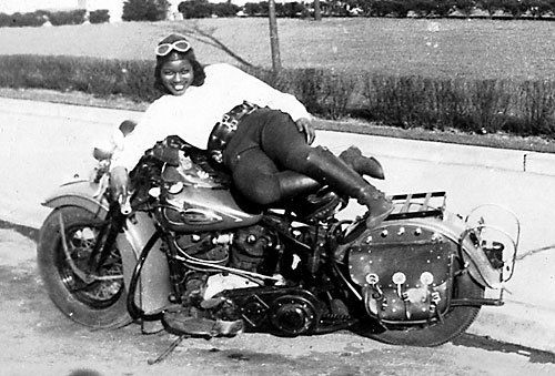 """BB"" Bessie Stringfield was an African American woman who in the 1930s and 40s rode her Harley cross country solo across the USA a total of eight times. Raised in Boston, started riding at 16, married 6 times and did hill climbing and trick riding in carnival stunt shows."