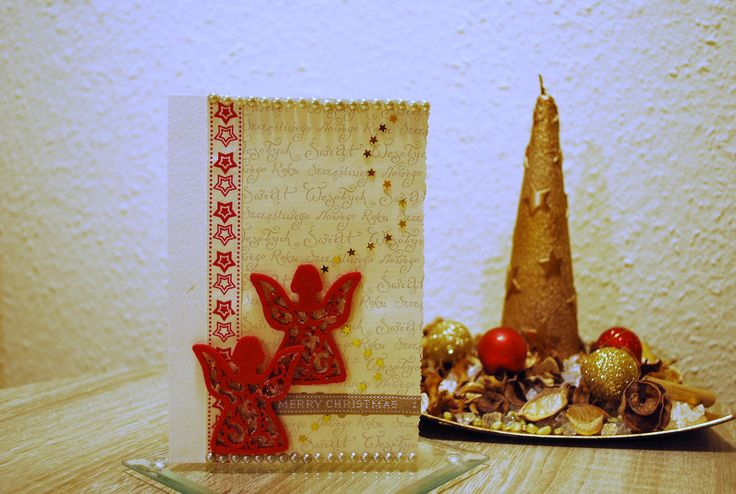 Handmade Christmas card with two felt angels and a starred washi tape