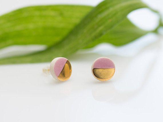 Light pink earrings Gold plated earrings Pink and gold Pink stud earings Tiny stud earrings Ceramic jewelry Sterling silver earrings Artisan