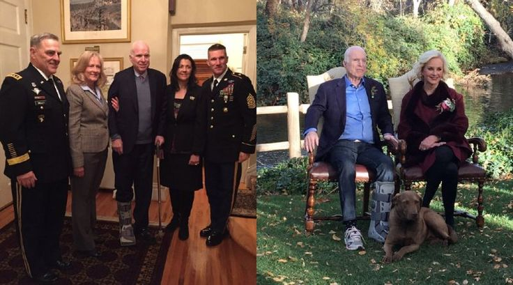 John McCain's walking boot mysteriously appears to swap feet in latest photo