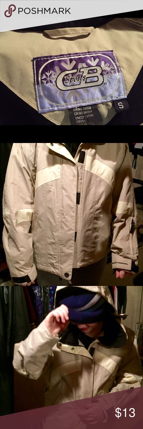 Nylon jacket Cream jacket.  Great for windy days. Gently used. CB Sport Jackets & Coats