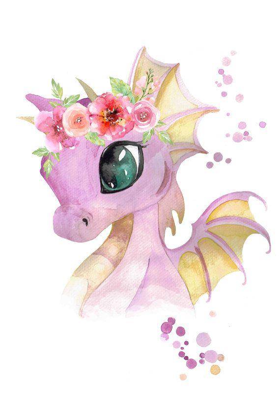 Easy Bedroom Drawings: Baby Dragon With Flower Crown - Print
