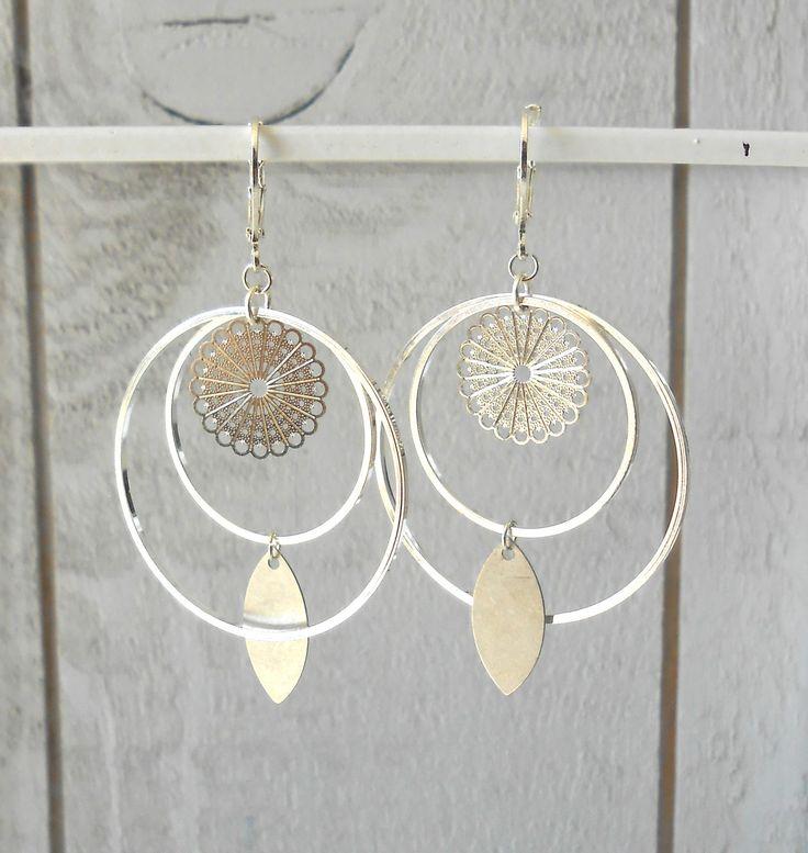 Boucle d'oreille façon créole, tout argenté : Boucles d'oreille par o-bijoux