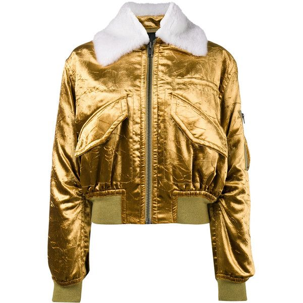 Haider Ackermann metallic cropped bomber jacket ($3,039) ❤ liked on Polyvore featuring outerwear, jackets, flight jackets, leather flight jacket, crop leather jackets, real leather jackets and brown cropped jacket