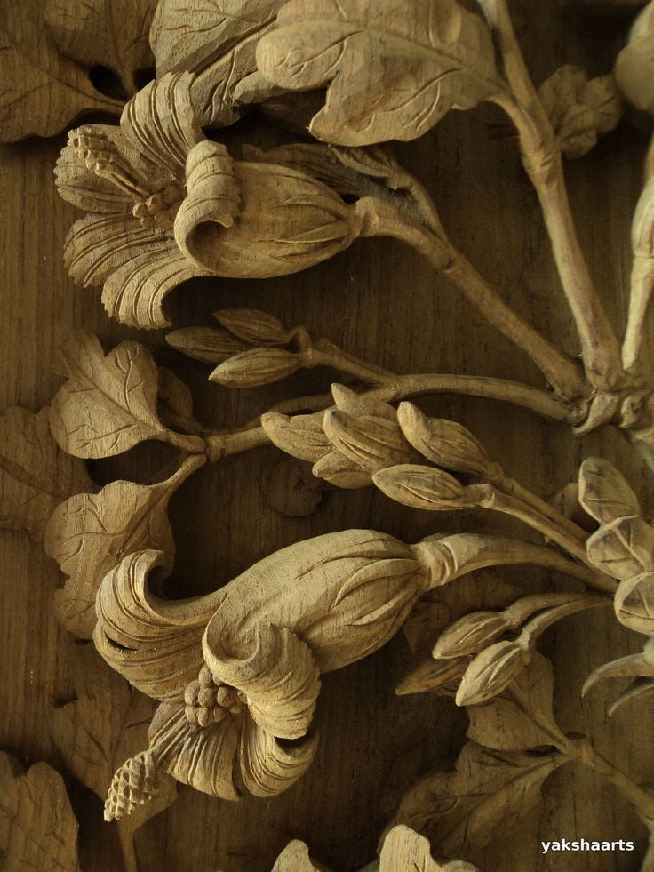 Large framed teak wood carving floral relief sculpture