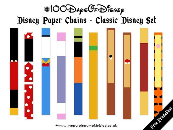 Disney Paper Chains - FREE PRINTABLE chains