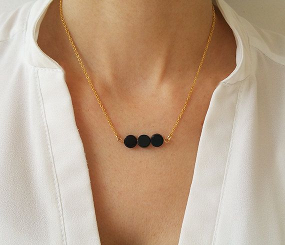 Black onyx necklace Gold necklace Onyx beads by HLcollection