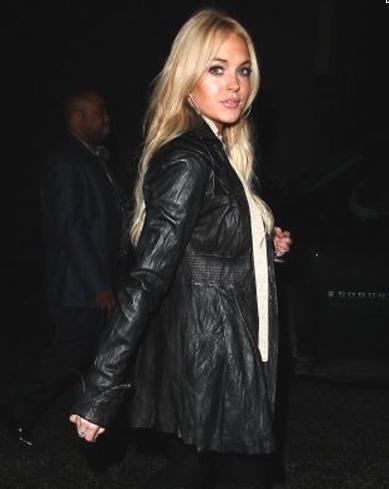 Lindsay Lohan Leather Jacket April 2017